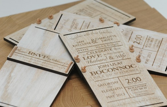 distressed laser engraved wedding invites with no color infill