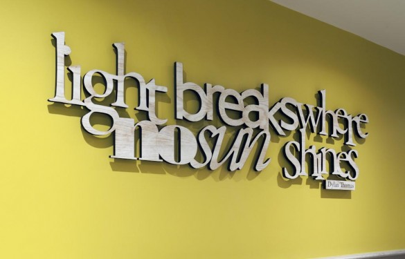 Laser cut and whitewash cut out letters for