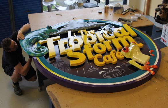 Longleat Safari Park - tropical-storm cafe - 3D sign - The Grain - Theme Park Signage