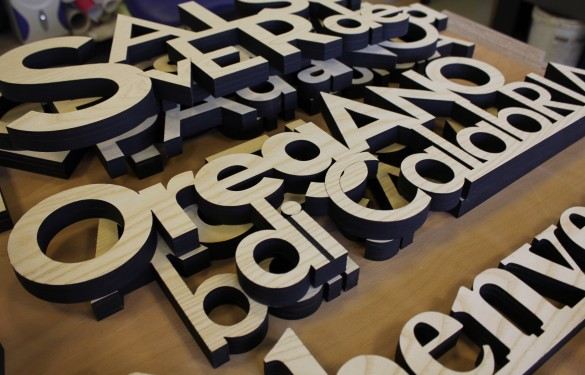 laser cut oak words for
