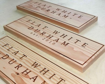 laser carved - Raw Wood - douglas fir - The Grain - Sign - POS