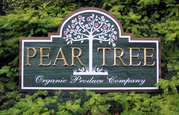 Pear Tree Sandblasted and 3D Carved Sign Raised Letters - v-cut prismatic letters - 24 carat Gold Leaf