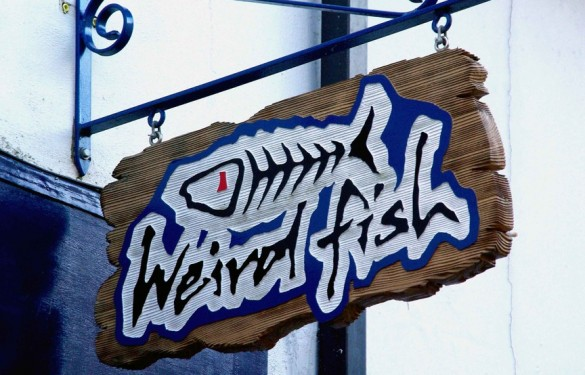 Weird Fish heavily distressed exterior Sandblasted hanging sign in Red Cedarwood