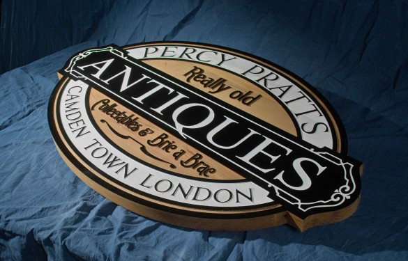 Antiques Shop London - sandblasted - cnc wooden sign- the grain