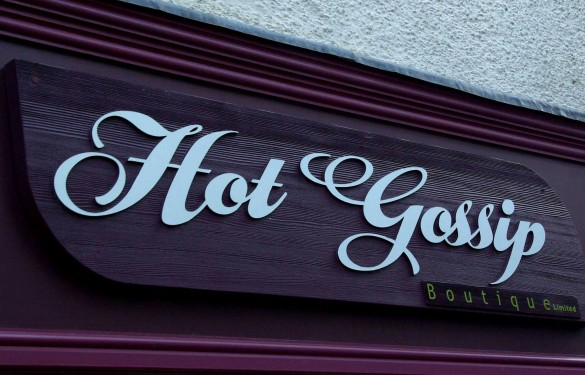 hot gossip looe - retail fashion sign - the grain - wooden sign