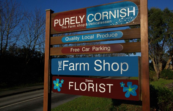 purely cornish sandblasted sign - pvc sign - retail sign - wooden sign - the grain