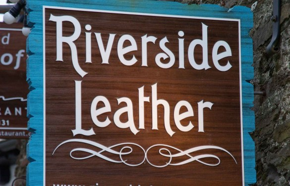 riverside leather -hanging sandblasted sign- display retail sign - the grain