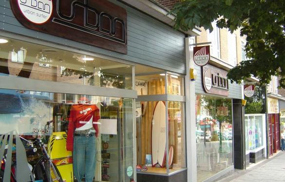 urban surfer surfshop - the grain - wooden retail shop sign - surf shop logo