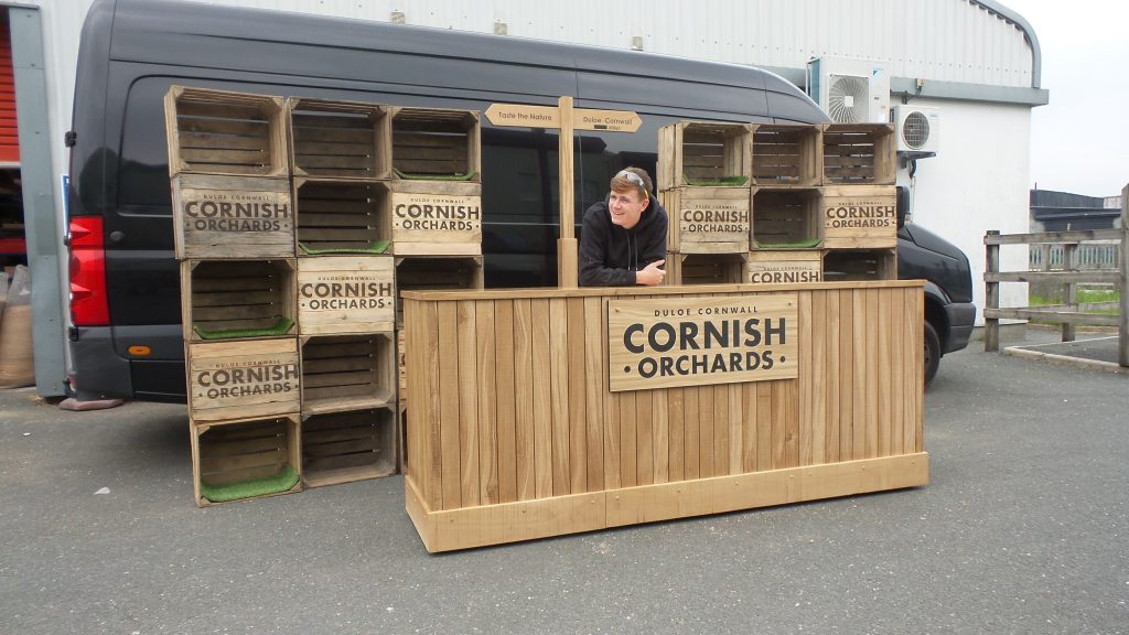 Wooden trade show display for Cornish orchard