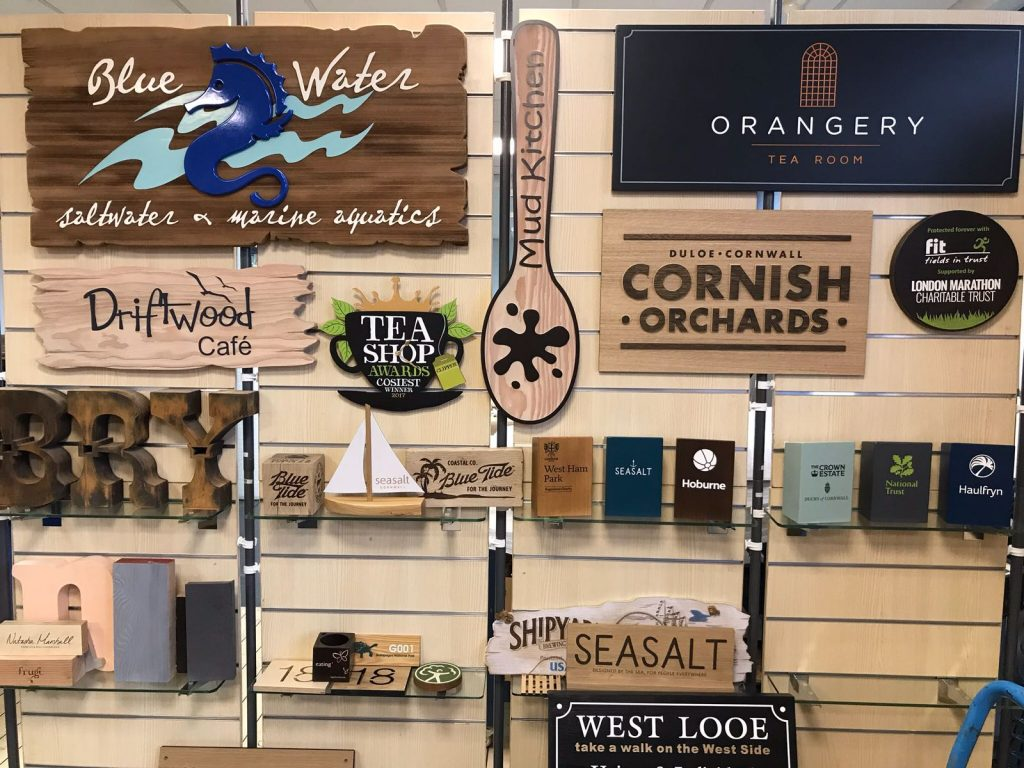 Wooden signs trade show sign display