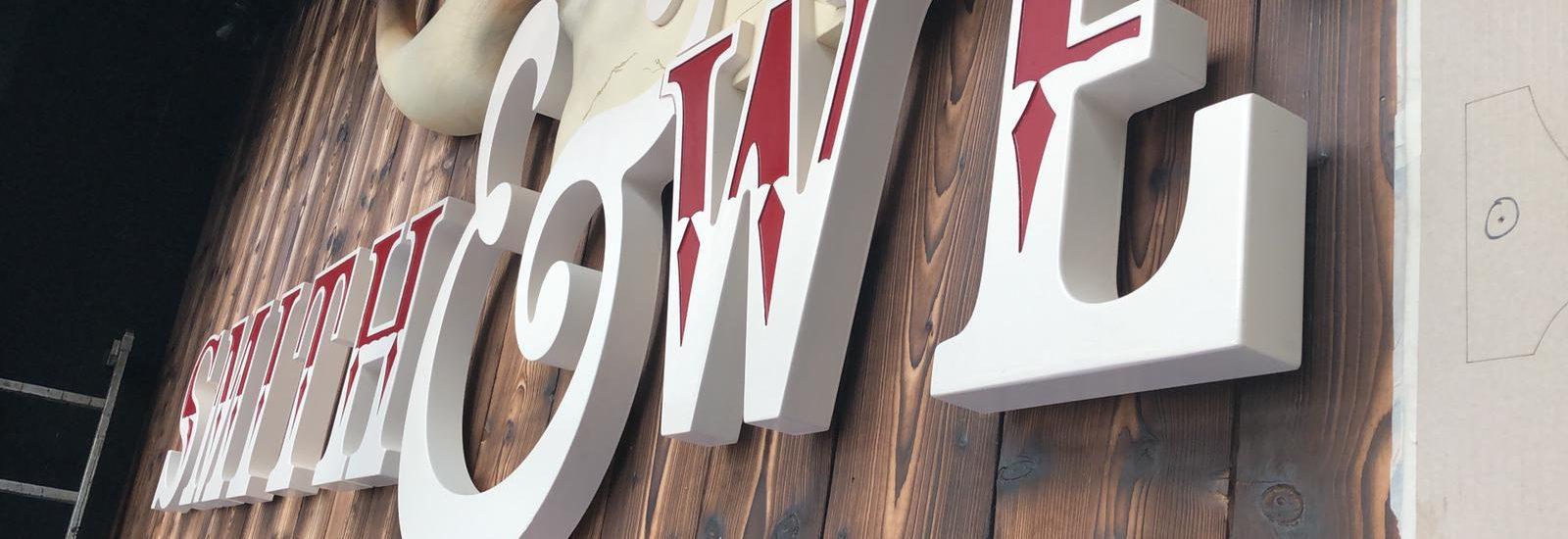HDU letter close up theme park sign